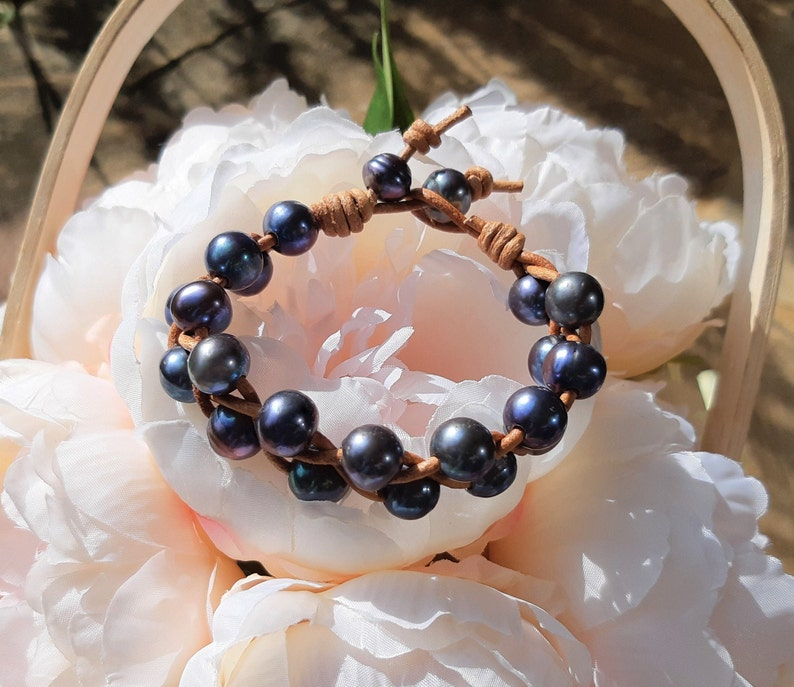 Pearl and Leather Bracelet Gifts for her Wrap Bracelet Stackable Freshwater Pearls