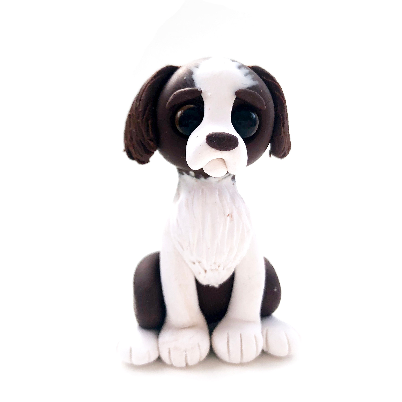 Springer Spaniel Figurine Dog Memorial Gift Polymer Clay Pet Miniature Miniature Animal Sculpture Dog Cake Topper Polymer Clay Dog