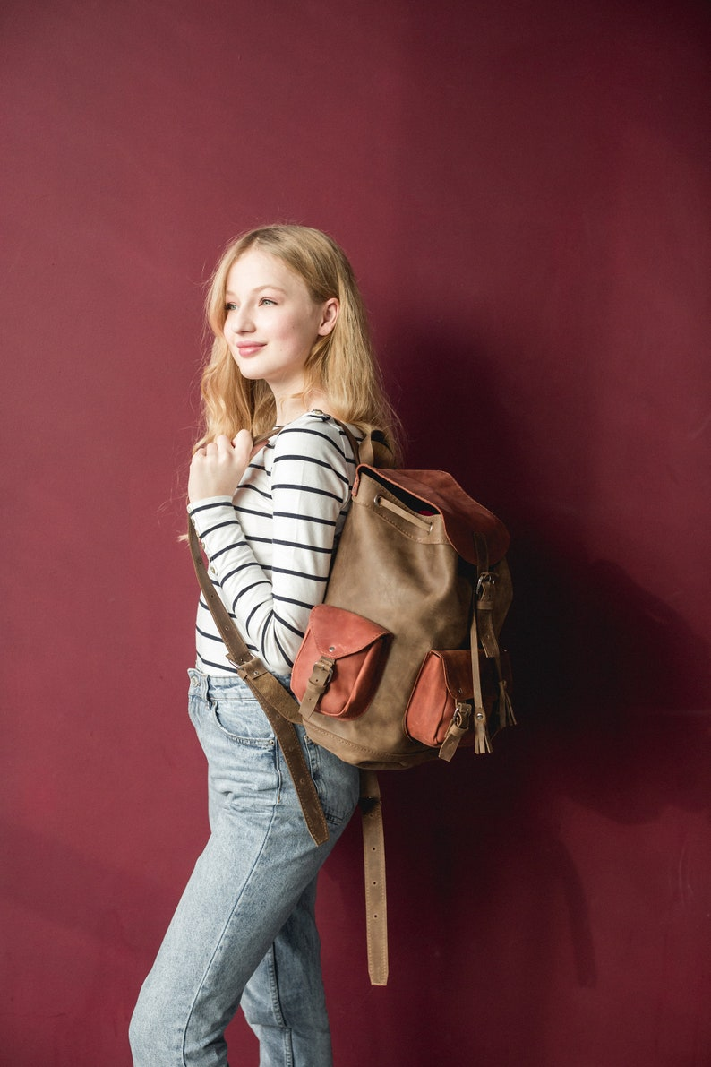 SALE Leather backpack Leather backpack women Color leather rucksack Travel backpack Large backpack Backpack bag Leather rucksack with pocket