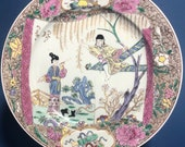 Antique Chinese 18th c Porcelain Plate The Romance of the Western Chamber , c. 1725. Yongzheng Period