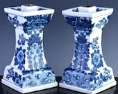 Antique Chinese White Porcelain Altar Sticks Candle Holders Qianlong Mark Mirror Pair