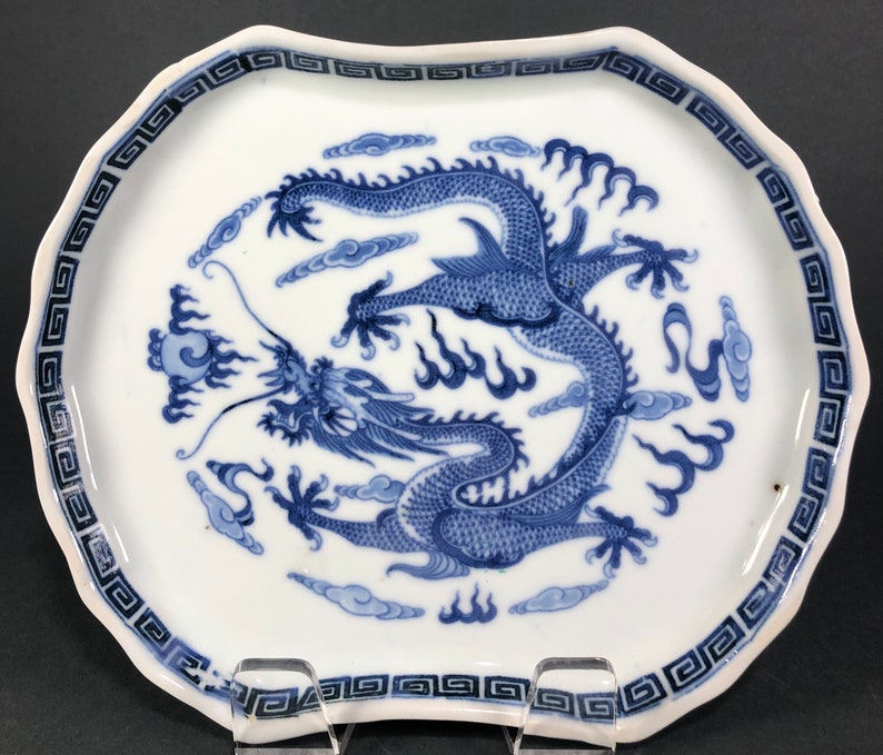 1912-1949 Antique Chinese Blue And White Imperial Dragon Tray Dish Republic Period