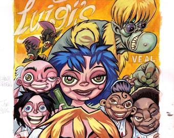Cherubs! #3 Comic book Cover Original Art-Luigi's
