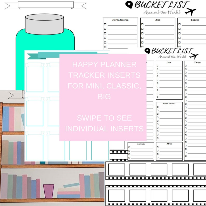 Happy Planner Inserts: Movie Tracker, Bucket List, Reading Tracker, Travel  List, Savings Jar (mini, classic and big) FREE SHIPPING