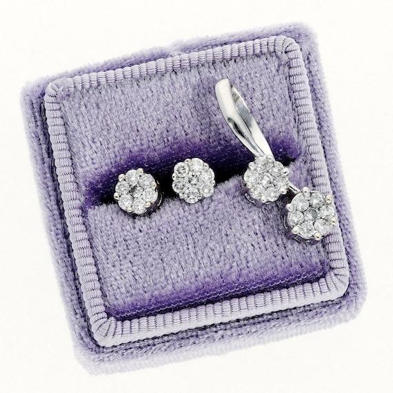 Matching Diamond Earrings and Pendant Set