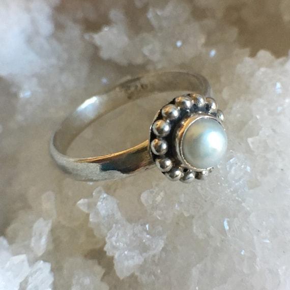 Pearl Jewellery 92.5 Sterling Silver June Birthstone Gift Boho Ring Tribal Ring Pearl Ring