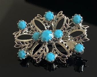 Vintage Turquoise Rhinestones Silver Brooch - 1950's Era - Gift Idea