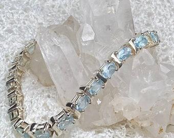 """Sterling Silver Swiss Blue Topaz 'S' Bar Tennis Bracelet - 7 1/2"""" - 17g - Gift Idea"""