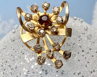 Vintage 50's Rhinestone Pin/Pendant - Brooch - Gold - Red - Holiday Bow -Retro