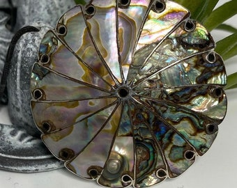 Vintage Abalone Sterling Silver Signed Mexico Pin/Pendant - Taxco
