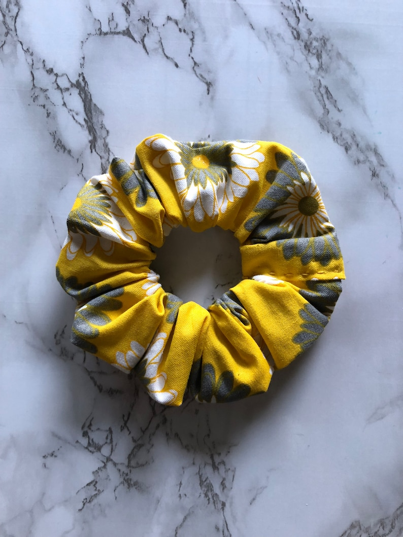 Yellow with WhiteGray Flowers Scrunchie