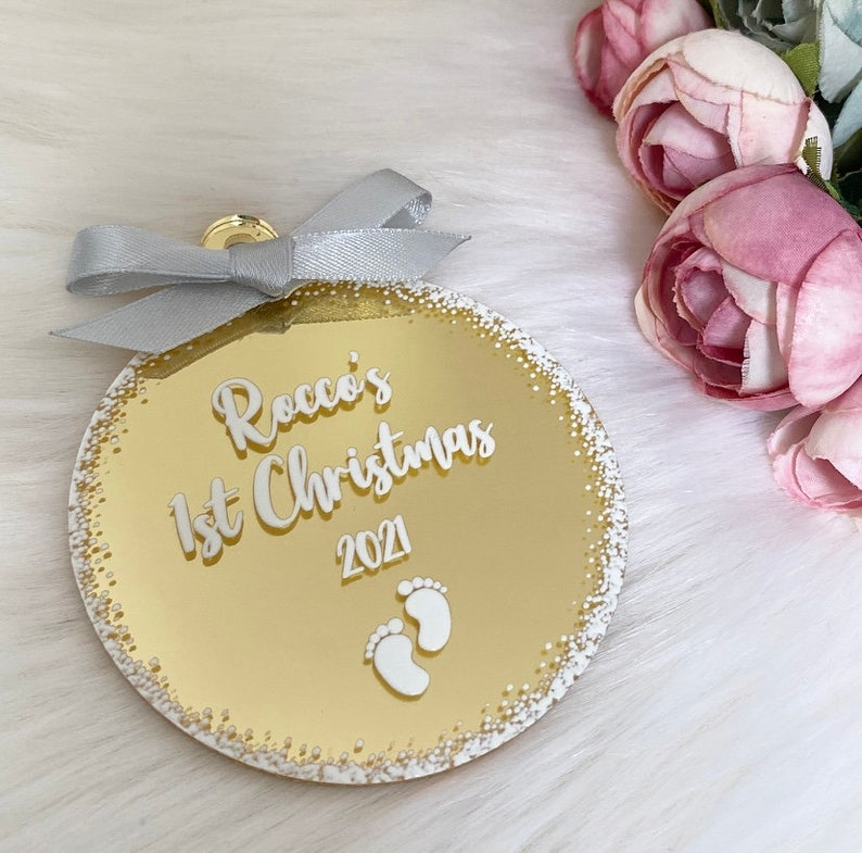 Personalised Baby/'s First Christmas Bauble Pink /& Gold