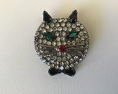 Vintage 1960 s Head of cat. Green eyes, metallic moustaches, red nose and black bow Gift for Her. Unique Cat Brooch