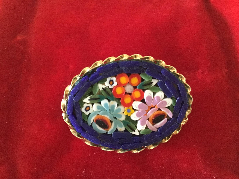 2 vintage mosaic murano brooches