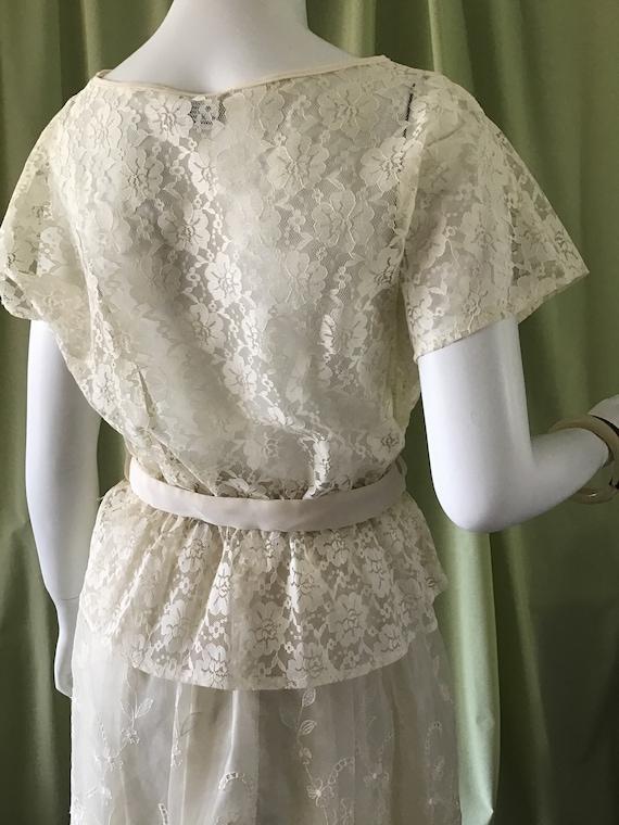 Vintage 60's White Lace Blouse. Woman's Clothes. … - image 6