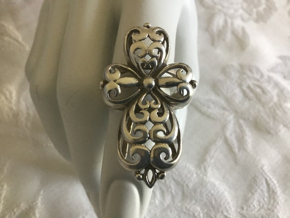 Vintage70's. Christian Cross Silver Ring. Lace Cr… - image 3