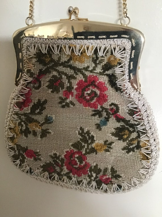 Vintage 70's Floral Tapestry Purse. Brocade Croche