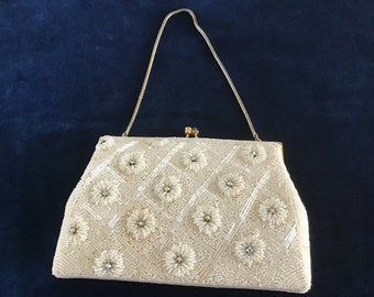 Vintage 50's. White Bridal Purse. White Elegant Purse Beaded Flowers with  Rainbow Rhinestone.Wedding Purse.Bridar shower Gift.Gift for Her.