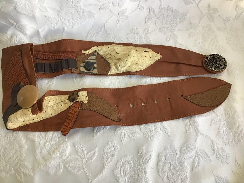 M Size Belt Daily Belt Gipsy Belt Woman\u2019s Accessory Woman\u2019s Leather Belt Vintage 80\u2019s France Leather Belt .Unique Artisan Leather Belt