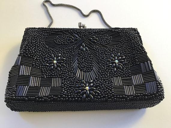 Vintage 50's Woman's Black Beaded Purse. Woman's E