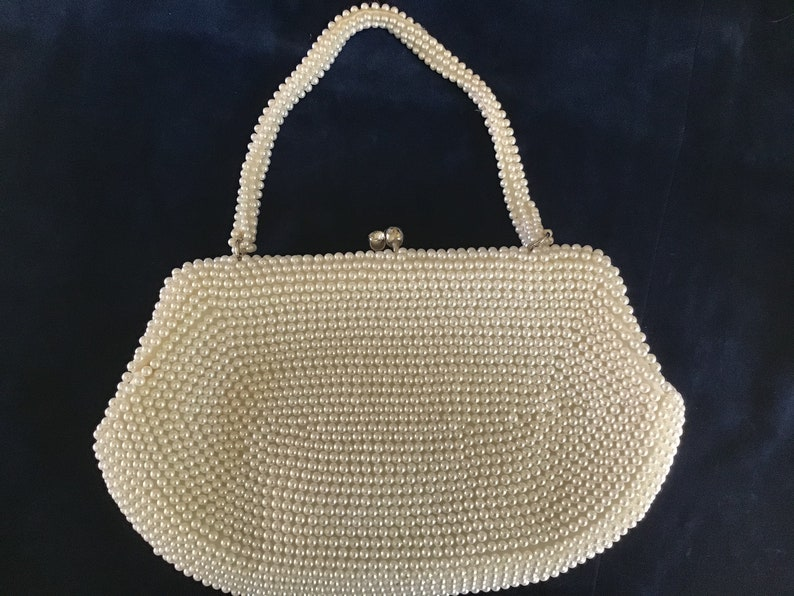 Vintage 1965\u2019s Beaded Woman\u2019s Purse.Florals elements and Faux Pearls Embroidered.Wedding Purse.Bridal purse.Unique pearls purse.Gift for Her