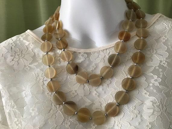 Vintage 40's Bakelite Long Necklace.Beige Bakelite