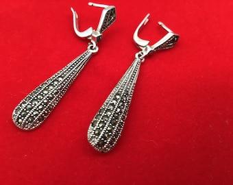 Vintage 70's Tear Earrings. Dangle Tear Earrings. Wedding Earrings. Amethyst & Silver Earrings. Promise Gift. Woman's Amethyst Jewels.
