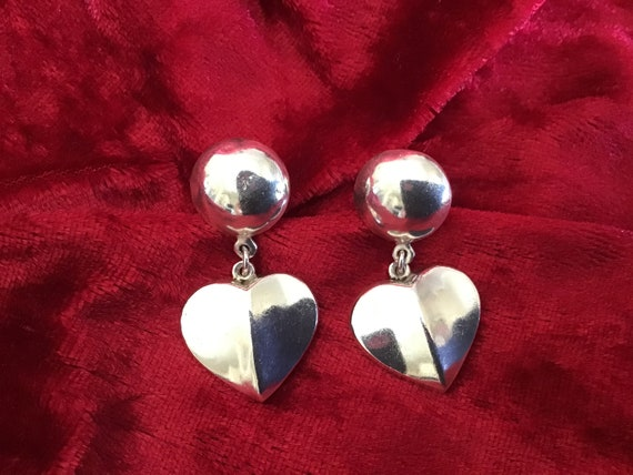 Vintage 60's Silver Pin Earring. Heart Silver Earr