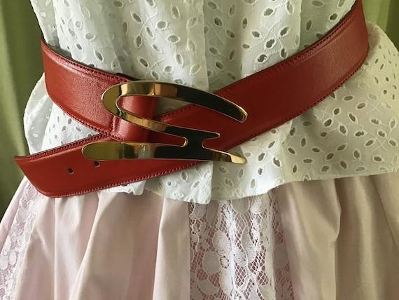 Vintage 90's Red Leather Belt  44 EU Red Belt. Des