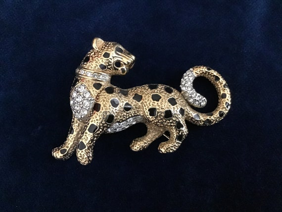Fabulous Vintage Green Eyes Panther Brooch Pin Sapphire Blue Lucite Cabochon Rhodium Plated Gorgeous