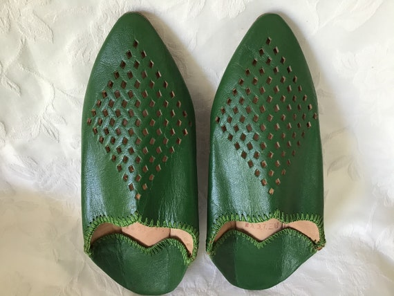 Vintage Leather Slippers. Green Oriental Slippers.