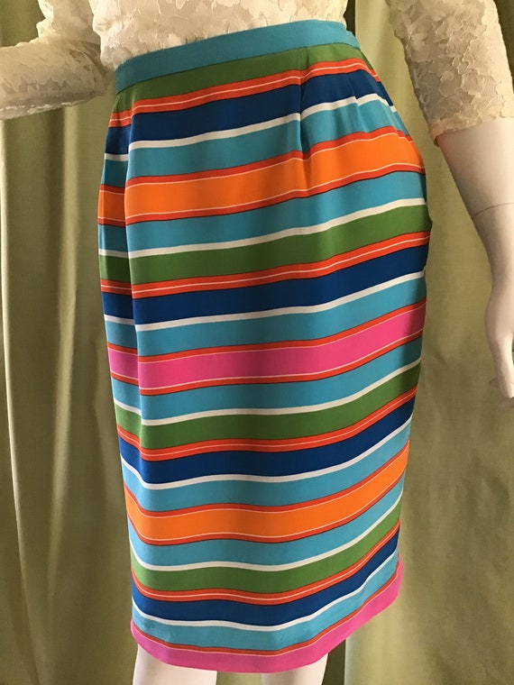 Vintage Pencil Skirt  Short Silk Rainbow Silk Skir