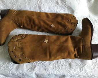 Vintage Boots Extra Soft Deerskin  Unique Boots   Suede Leather  Butterscotch Colour Boots.Woman EU 37  UK 4 1/2  Flat Boots Spring Boots