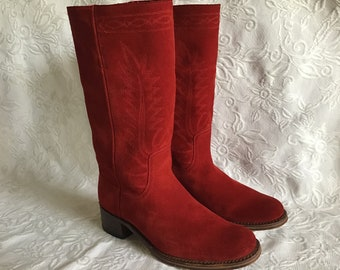 Vintage Suede Leather Boots. Autumn & Spring Red Leather  EU Size 37  UK 4  1/ 2 Suede Red Leather Boots