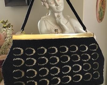 Vintage 70's Handbag. Black and Gold Beaded Purse. Woman's Purse. Wedding Purse Evening Hand Purse  M Size Beaded Purse  Woman's Accessories