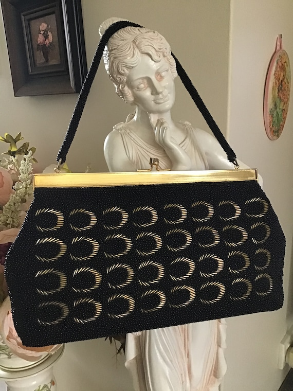 Vintage 70's Handbag. Black and Gold Beaded Purse.