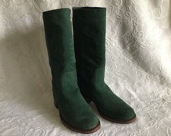Vintage Suede Leather Boots. Autumn &Spring Green Leather. EU 37 Size Green Leather Boots. UK 4 1/2 Size Woman's Boots.