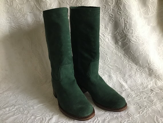 Vintage Suede Leather Boots. Autumn and Spring Gre