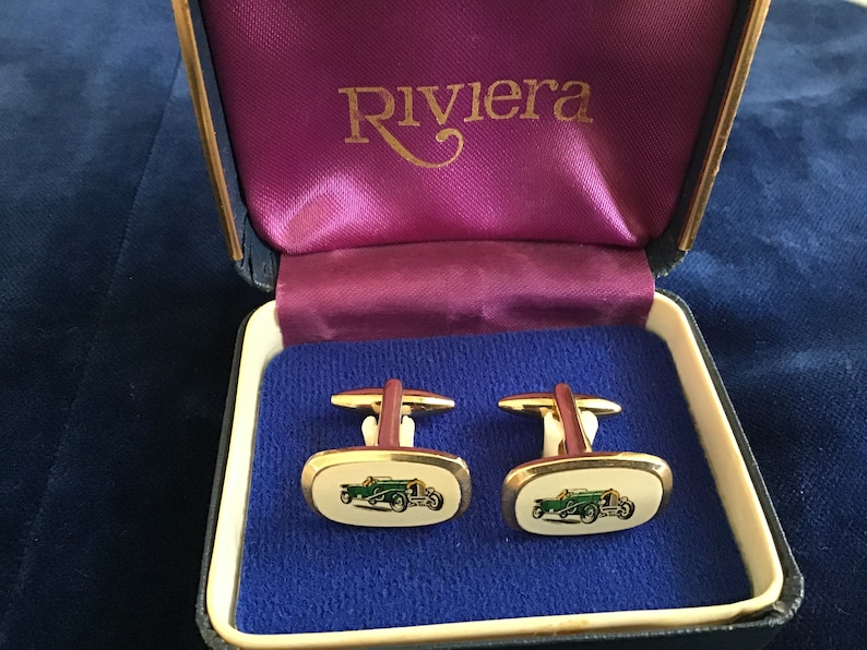 Genuine Vintage Boxed Cufflinks Vintage 1950\u2019s Enamel Cufflinks Car 1950s Cufflinks.Wedding and Present Gift for Him Him special present.