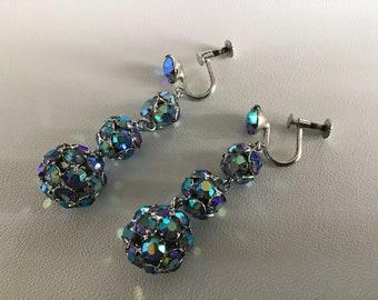 Vintage 40's Dangle Balls Earrings. Screw Back Rainbow Stone Earrings. Dangle Screw Back Earrings. Woman's Luxury Jewel. Anniversary Gift