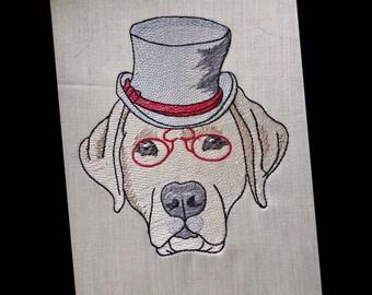 8f088ef2c8d Labrador Dog wearing Top Hat Sketch Embroidery Design - Instant Download