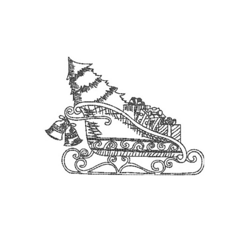 Vintage Christmas Sleigh Redwork Embroidery Design 2 Sizes Instant Download