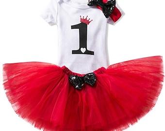 8729d51c0d68 Amaze Labs Baby Girl Princess Crown 1st Birthday 3 Pcs Outfits Romper+Tutu  Dress+Headband