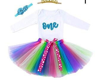 9a48f7ac8e9a Amaze Labs Baby Girls 1st Birthday Bling One Romper Tutu Skirt Flower Crown  Headband