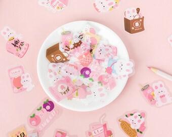 40 rabbit flake stickers, 40 kawaii bunny stickers, kawaii sticker pack, bunny stickers, envelope seal stickers, kawaii dessert stickers