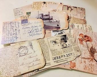 Vintage style postcard set of 6, Vintage reproduction postcards, rustic postcards, French postcards, Carte Postale, junk journal postcards