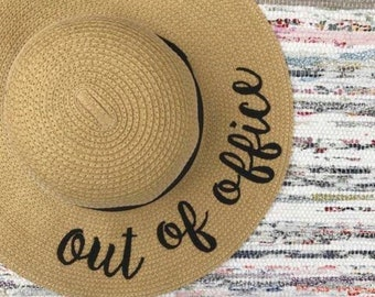 06d98761a773f OUT OF OFFICE Vacation Hat Vacation gift gift for boss - Boss Gift - Custom  Floppy Beach Hat - Bachelorette Trip - Honeymoon - Beach Weekend