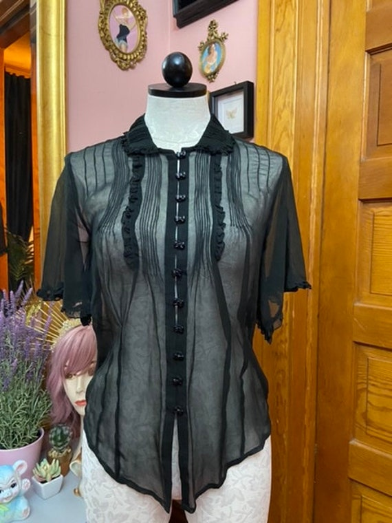 90's does 30's Sheer Black Blouse