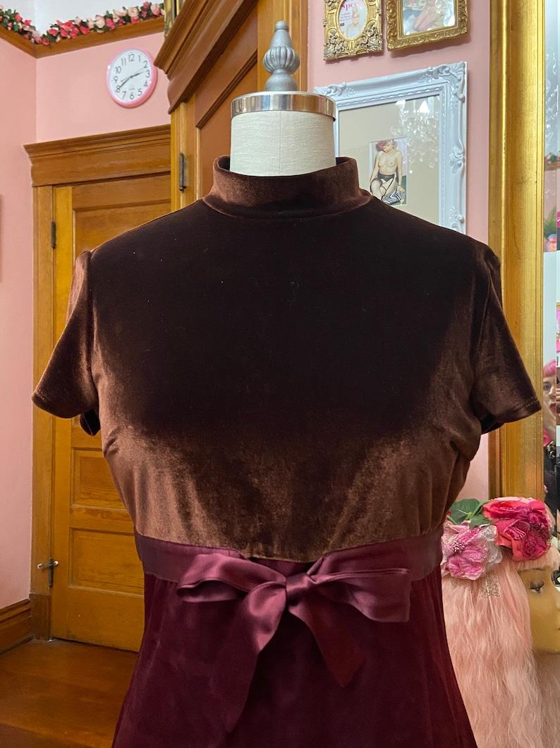 XOXO 90s Rust Velvet and Satin Baby Doll Mini Dress