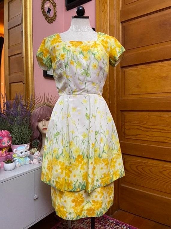 Vintage 50's Yellow Floral Original Lucinda of Cal
